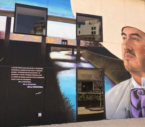 """Murals by Jesus """"CIMI"""" Alvarado seen at El Paso Museum of Art, El Paso - """"Fronterizos"""" (Border People)"""