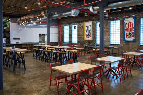 Tables by Goebel & Co. Furniture seen at 4 Hands Brewing Co, St. Louis - Wooden table top and chairs