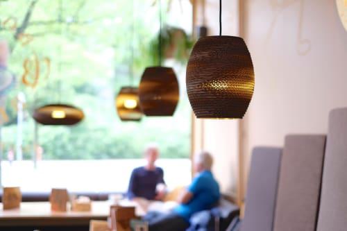 Pendants by Graypants seen at Bagels & Beans, Amsterdam - Oliv Scraplights
