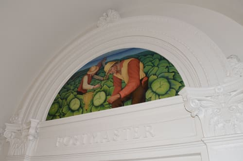 Murals by Henrietta Shore seen at United States Postal Service - Aptos, Aptos - Cabbage Culture