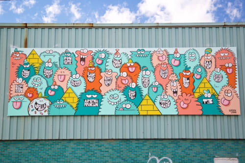 Street Murals by Kevin Lyons seen at Eastern Market, Detroit, Detroit - Jazz City Giants