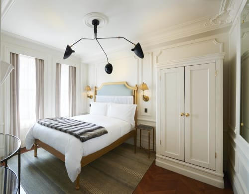 Lighting by Serge Mouille seen at The Marlton Hotel, New York - Three-Arm Ceiling Lamp