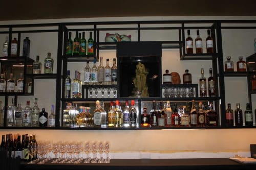 Furniture by TRUE Handcrafted seen at Mister Jiu's, San Francisco - Back Bar Frame