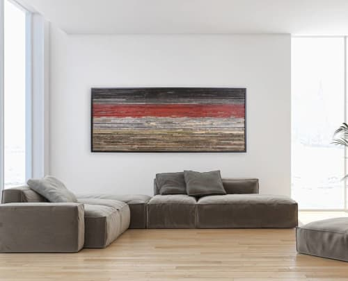 Wall Hangings by Craig Forget seen at Private Residence, Essex - Fiery Red Sunset Landscape
