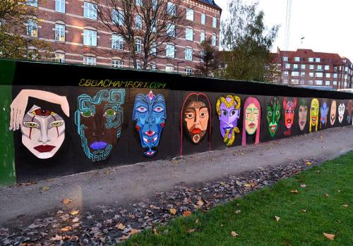 Street Murals by Ebba Chambert seen at Hans Egedes Gade, København - Everyone is a stranger
