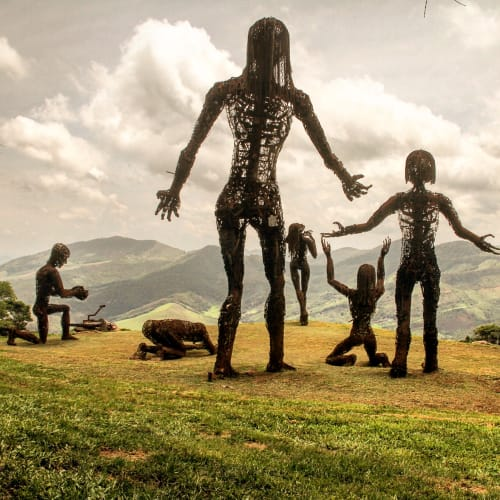 Sculptures by Karen Cusolito seen at Reserva Do Ibitipoca - Ecstasy, Epiphany, Mumbatu, Achmed, Humble George, and Mother & Child