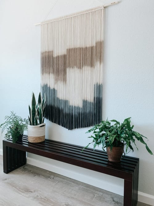 Macrame Wall Hanging by Love & Fiber seen at Creator's Studio, San Diego - Large Modern Black and Gray Macrame Wall Hanging