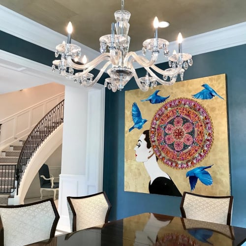Paintings by Ashley Longshore seen at Private Residence, New Orleans - Audrey With Mandala Headdress, Blue Birds, And Gold Leaf Background