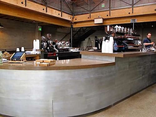 Tables by Boor Bridges Architecture seen at Sightglass, San Francisco - Concrete Countertop