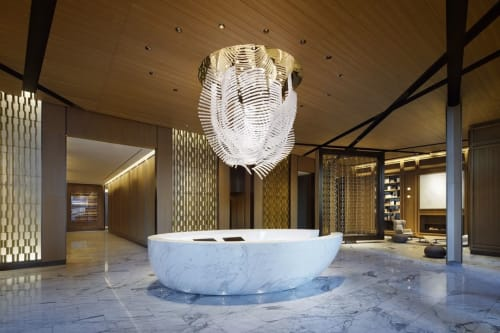 Chandeliers by Lasvit seen at Sky - Luxury Apartment Rentals NYC, New York - Gravity Chandelier