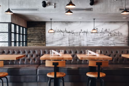 Murals by Jason Brammer seen at Land & Lake Kitchen, Chicago - Black and White Mural