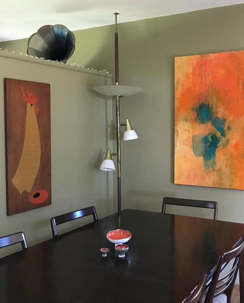 Paintings by Kari Kroll seen at Altadena Residence, Altadena - Rooster Red Abstract