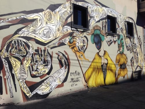 Street Murals by Ciro Schunemann (Ciro Schu) seen at Haight St, Western Addition, San Francisco - Two Beauties