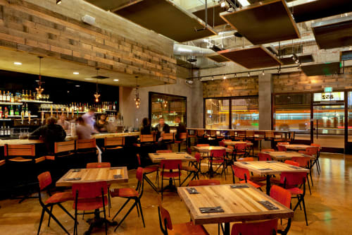 Wall Treatments by District Mills seen at Umami Burger, Los Angeles - Wood Cladding For Bar And Entrance Wall Facades