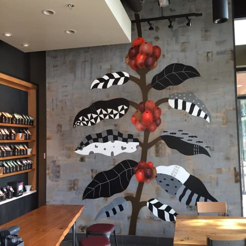 Murals by Ryan Bubnis Studio seen at Starbucks, Seattle - Mural