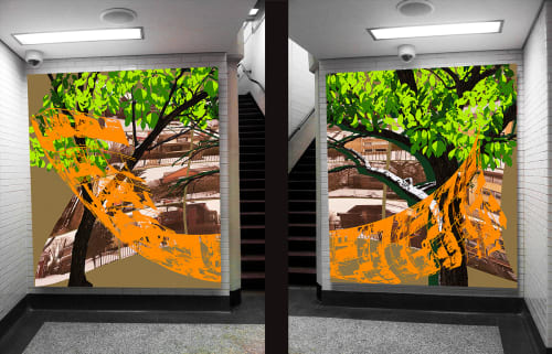 Murals by Tom Denlinger seen at Jarvis (CTA), Chicago - A Neighborhood Piazza