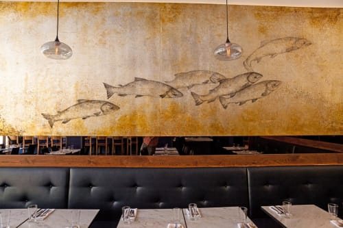 Murals by Letty Samonte seen at Ferry Plaza Seafood, San Francisco - Fish Mural