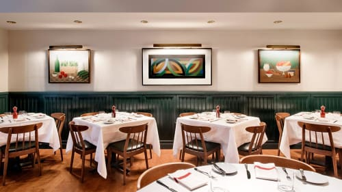 Paintings by Frank Stella seen at Union Square Café, New York - Painting