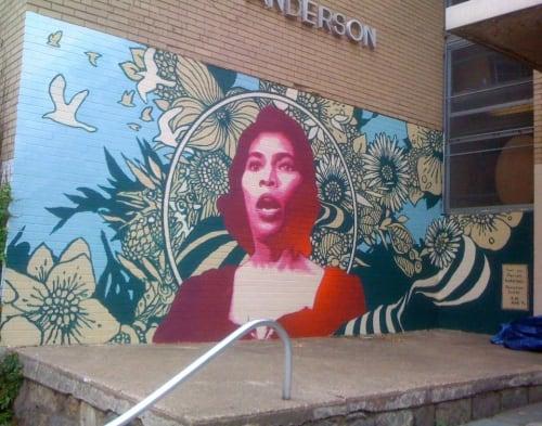 Murals by Joshua Mays seen at Marian Anderson Recreation Center, Philadelphia - Marian Anderson