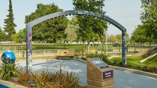 Sculptures by Jen Lewin seen at Magical Bridge Playground, Palo Alto - Magical Harp