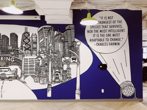 Murals by Kate Lynn Lewis seen at SpotHero, Chicago - Mural