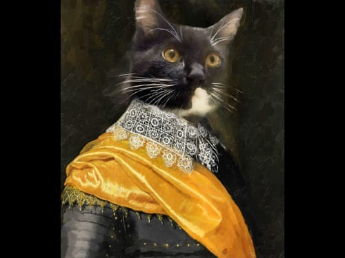 Paintings by Kalisher seen at The Tuck Room Tavern, New York - Aristocratic Cat