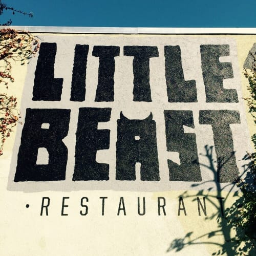 Signage by Leaf Cutter Studio seen at Little Beast Restaurant, Los Angeles - Exterior Painted Sign