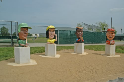 Sculptures by Tony Natsoulas seen at Tahoe Tallac Little League, Sacramento - Little Leaguers