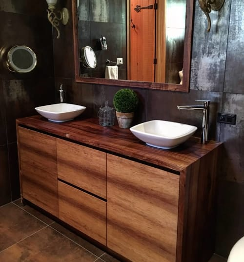 Furniture by Wild About Wood seen at Private Residence, Melbourne, VIC, Melbourne - Tasmanian Blackwood Vanity