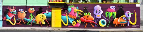 Street Murals by Nicolas Barrome seen at Panteón San Juan Tlihuaca, Ciudad de México - Desfile Post Mortuo