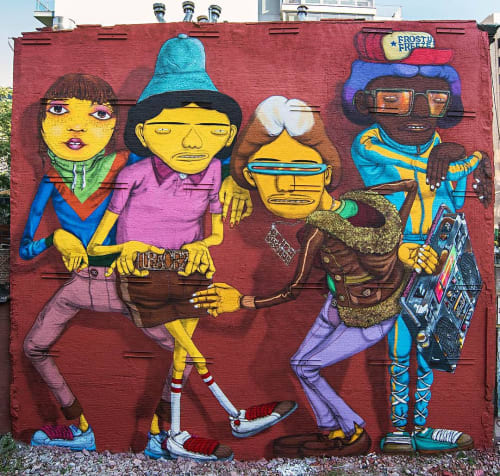 Street Murals by OSGEMEOS seen at 14th Street/Sixth Avenue, New York - Rock On To The Break Of Dawn Part2