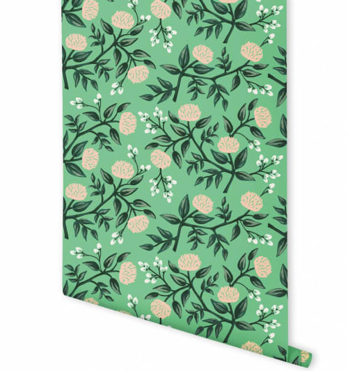 Wallpaper by Rifle Paper Co. seen at Felix, Los Angeles - Peonies Mint