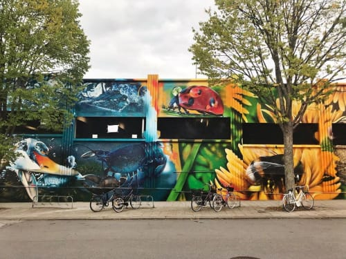 "Murals by Ketones6000 seen at Bankvägen, Västervik SV - ""The Keeper and the Catcher"" Mural"