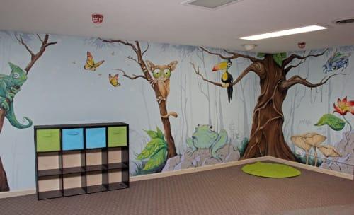 Murals by Patrick Maxcy at Ken Caryl Ranch House Park, Littleton - Rainforest Mural