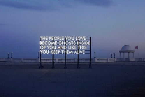 "Wall Hangings by Robert Montgomery at Williamson Residence, Williamson - ""The people you love become ghosts inside of you and like this you keep them alive"""