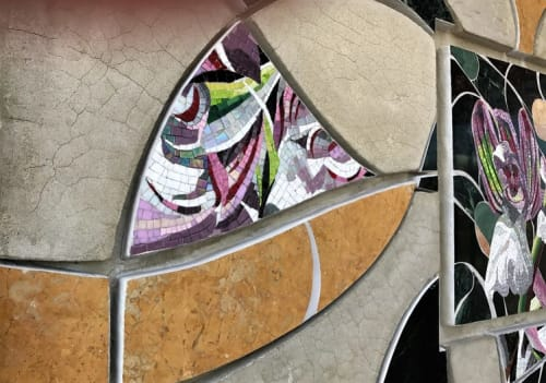 Public Mosaics by Carole Choucair Oueijan at Alondra Pitts Shopping Center, Bellflower - Orchis Morio Libani