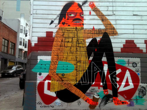 Street Murals by Jaque Fragua seen at Austin Street and Polk Street, SF, San Francisco - American Indian Occupation