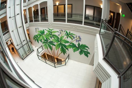 Murals by Mona Caron seen at The Postal Building, Portland - Pacific Waterleaf