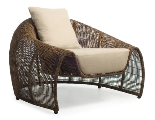 Chairs by Kenneth Cobonpue seen at Schindler Beach House, La Jolla CA, San Diego - Croissant Easy Armchair and Coffee Table
