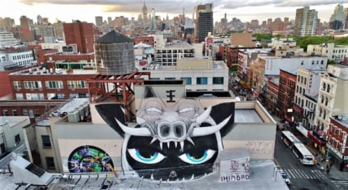 Street Murals by Himbad seen at Bowery, Chinatown, New York, New York - Take That Trump