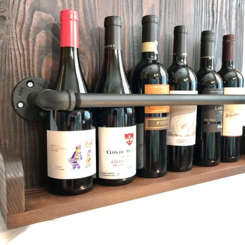 Furniture by Cask Woodworking seen at Private Residence, Sherwood Park - Hanging Wine Rack