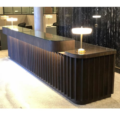 Tables by Angel City Woodshop seen at The Altman Brothers, Beverly Hills - Altman Brothers - Fluted Solid Black Walnut Reception Desk