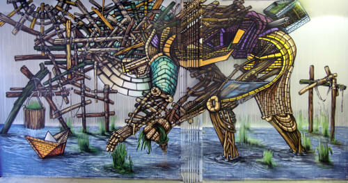 Street Murals by Don Rimx seen at 5 Bryant Park, New York - The Rice Planter