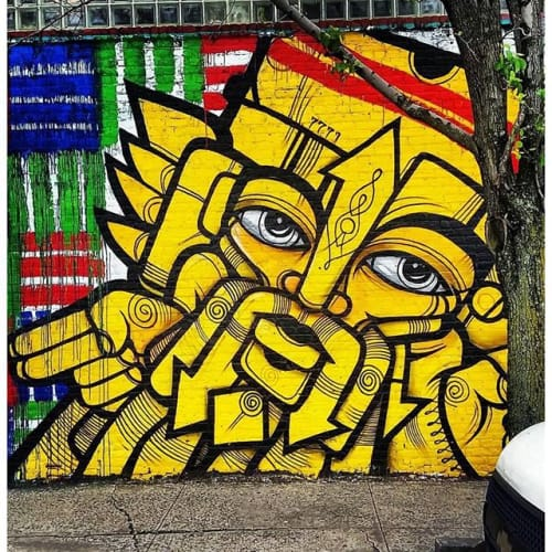 Street Murals by RasTerms aka James Monk seen at Bronx, NY, Bronx - Goldish Yellow Mural