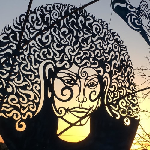 Public Sculptures by RandylandLA seen at Randyland, Los Angeles - Holey Steel Sculpture
