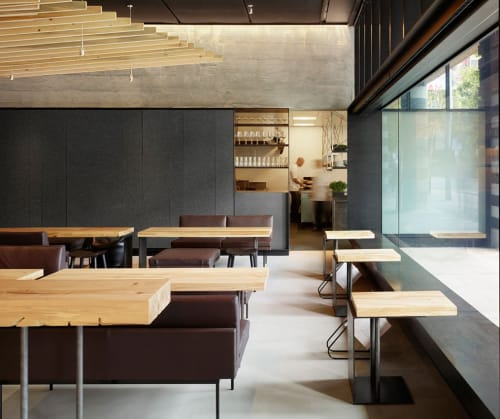Tables by Evan Shively and Arborica at In Situ, San Francisco - Custom Lounge Table & Suite of Wood Materials for Tables and Ceiling