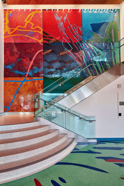 Murals by Rupert Garcia seen at Zuckerberg San Francisco General Hospital and Trauma Center, San Francisco - Nature of Medicine - Stairs