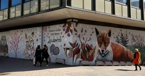Murals by Salla Ikonen seen at Sörnäinen, Helsinki - The Urban grove / Urbaani Lehto