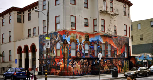 Street Murals by Isaias Mata seen at 24th Street, Mission District, San Francisco - 500 Years of Resistance
