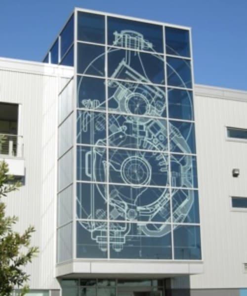 Murals by Anita Margrill seen at MUNI Metro East Maintenance Facility, San Francisco - Blueprints